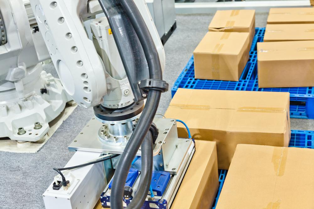 industrial transportation robot arm working